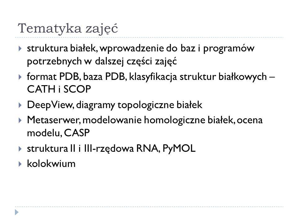 Tematyka zajęć struktura białek, wprowadzenie do baz i programów potrzebnych w dalszej części zajęć format PDB, baza PDB, klasyfikacja struktur białko