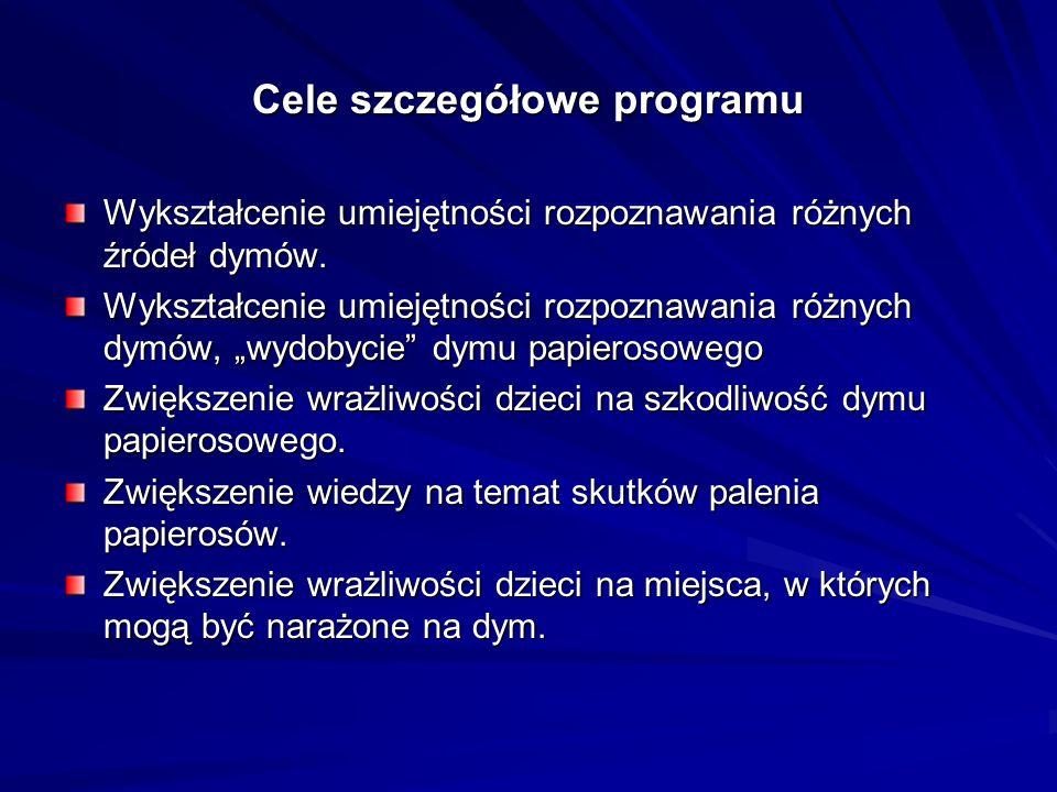 Cele szczegółowe programu Wykształcenie umiejętności rozpoznawania różnych źródeł dymów. Wykształcenie umiejętności rozpoznawania różnych dymów, wydob