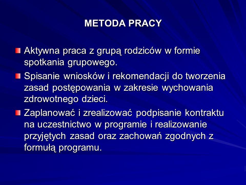 METODA PRACY Aktywna praca z grupą rodziców w formie spotkania grupowego. Spisanie wniosków i rekomendacji do tworzenia zasad postępowania w zakresie