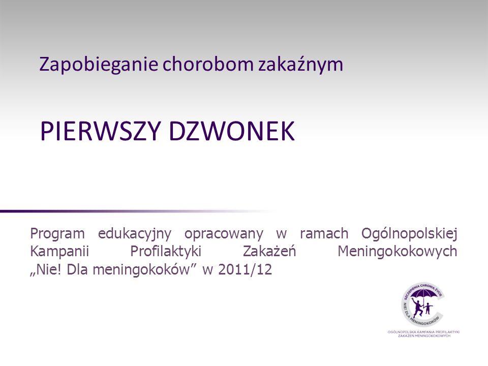 Zapobieganie chorobom zakaźnym PIERWSZY DZWONEK Program edukacyjny opracowany w ramach Ogólnopolskiej Kampanii Profilaktyki Zakażeń Meningokokowych Ni