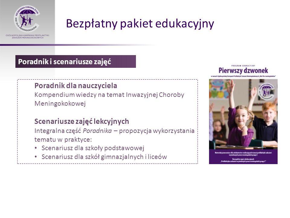 Bezpłatny pakiet edukacyjny Poradnik dla nauczyciela Kompendium wiedzy na temat Inwazyjnej Choroby Meningokokowej Scenariusze zajęć lekcyjnych Integra