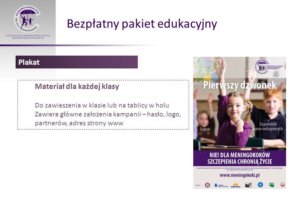 Bezpłatny pakiet edukacyjny Materiał dla każdej klasy Do zawieszenia w klasie lub na tablicy w holu Zawiera główne założenia kampanii – hasło, logo, p