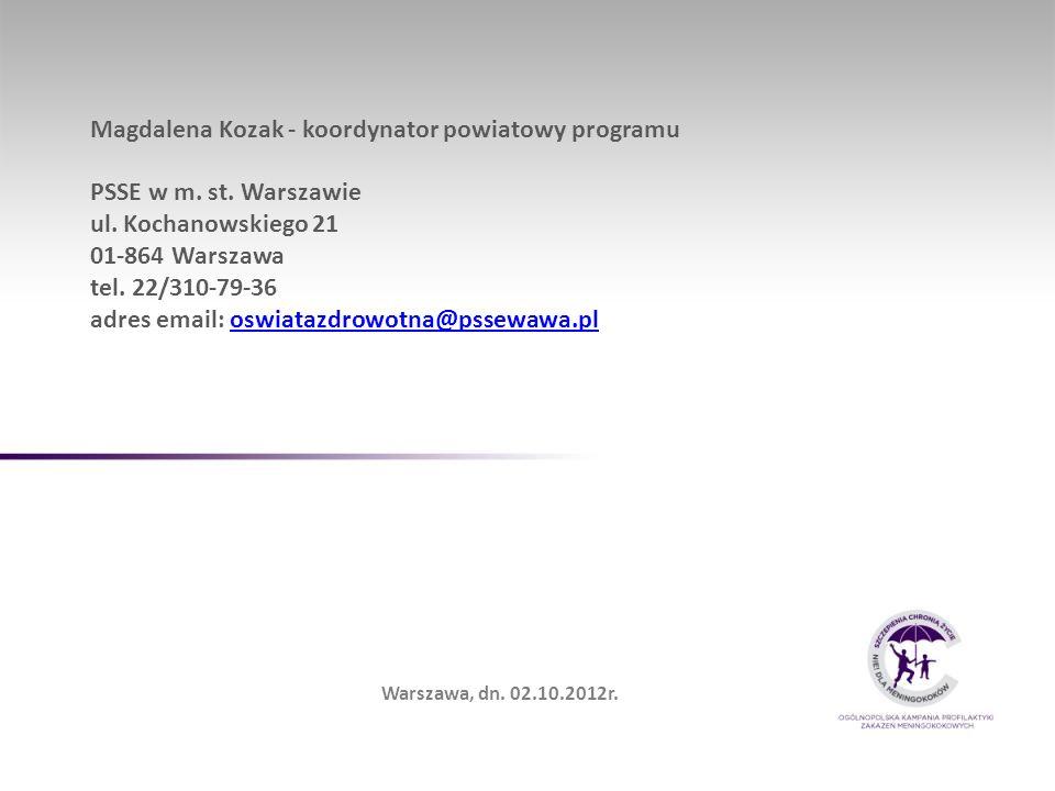 Magdalena Kozak - koordynator powiatowy programu PSSE w m. st. Warszawie ul. Kochanowskiego 21 01-864 Warszawa tel. 22/310-79-36 adres email: oswiataz