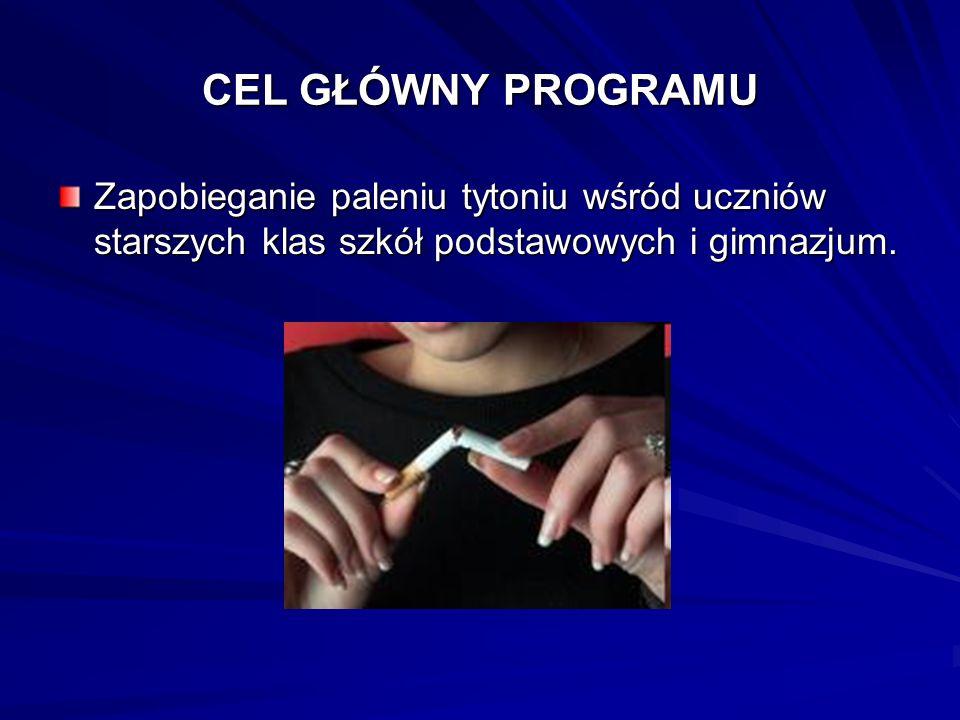 CEL GŁÓWNY PROGRAMU Zapobieganie paleniu tytoniu wśród uczniów starszych klas szkół podstawowych i gimnazjum.