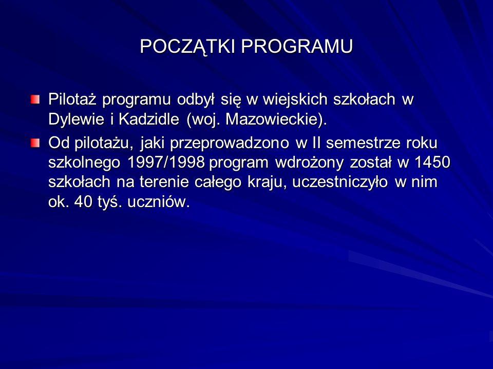 POCZĄTKI PROGRAMU Pilotaż programu odbył się w wiejskich szkołach w Dylewie i Kadzidle (woj. Mazowieckie). Od pilotażu, jaki przeprowadzono w II semes