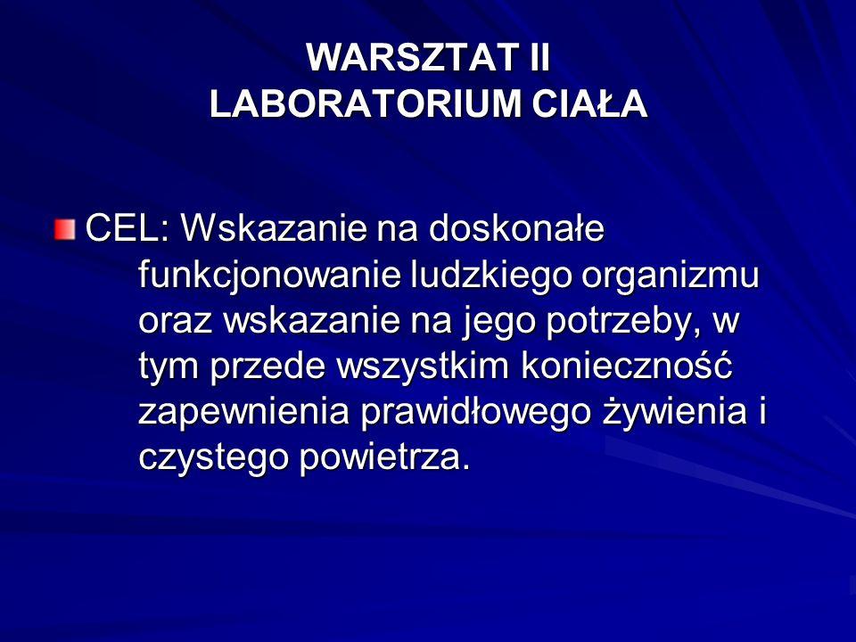 WARSZTAT II LABORATORIUM CIAŁA CEL: Wskazanie na doskonałe funkcjonowanie ludzkiego organizmu oraz wskazanie na jego potrzeby, w tym przede wszystkim