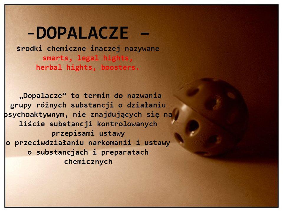 -DOPALACZE – środki chemiczne inaczej nazywane smarts, legal hights, herbal hights, boosters. Dopalacze to termin do nazwania grupy różnych substancji