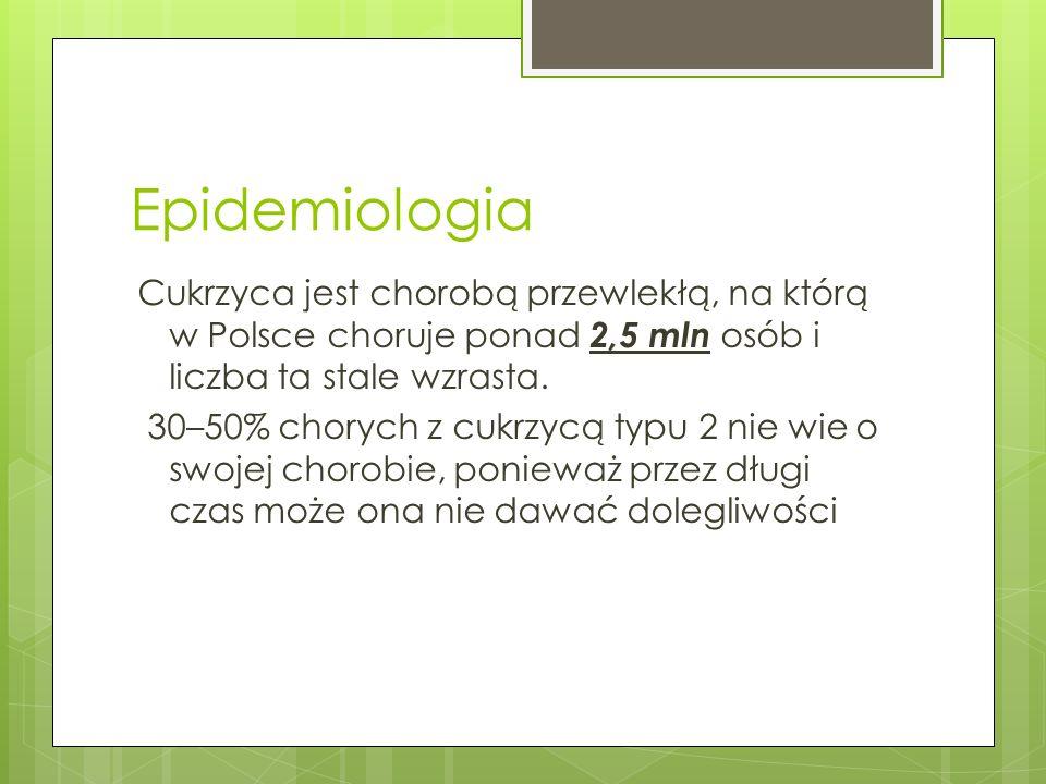 Epidemiologia Cukrzyca jest chorobą przewlekłą, na którą w Polsce choruje ponad 2,5 mln osób i liczba ta stale wzrasta. 30–50% chorych z cukrzycą typu