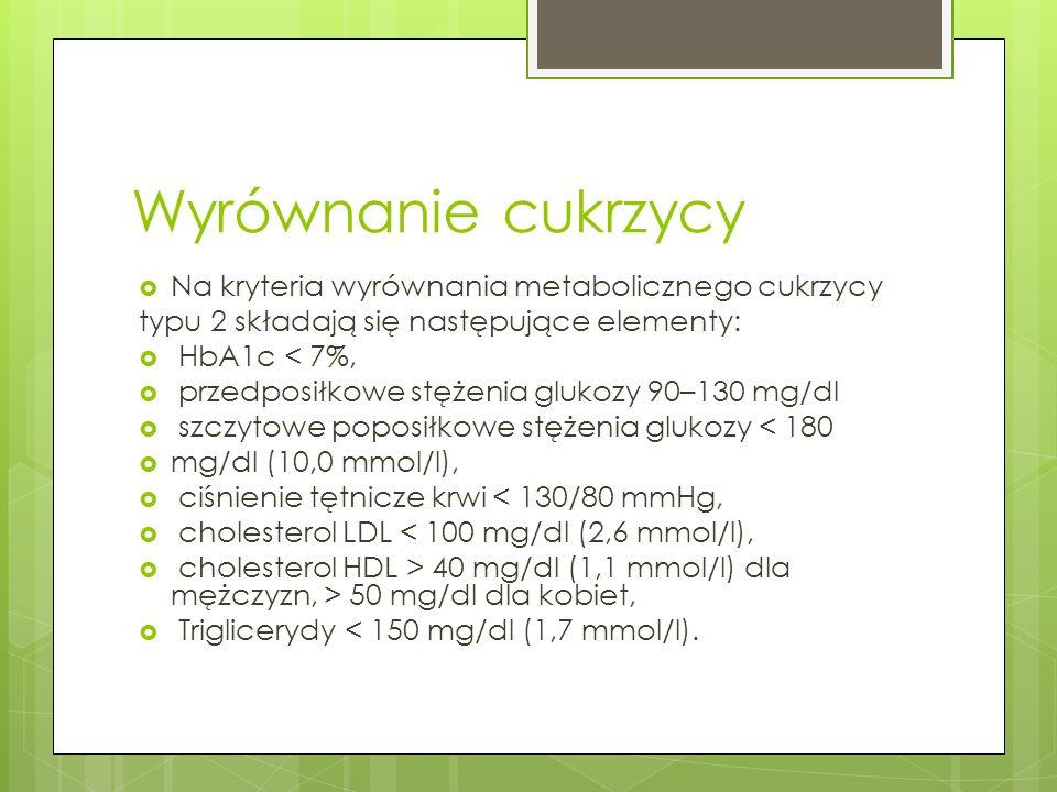 Wyrównanie cukrzycy Na kryteria wyrównania metabolicznego cukrzycy typu 2 składają się następujące elementy: HbA1c < 7%, przedposiłkowe stężenia gluko