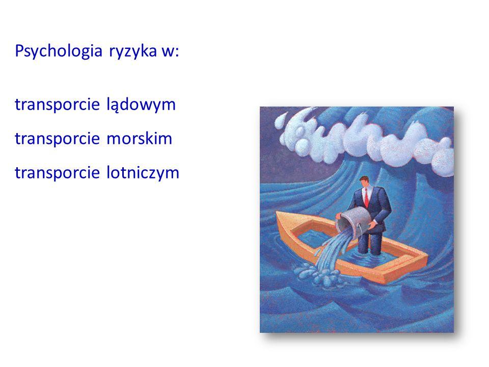 Psychologia ryzyka w: transporcie lądowym transporcie morskim transporcie lotniczym
