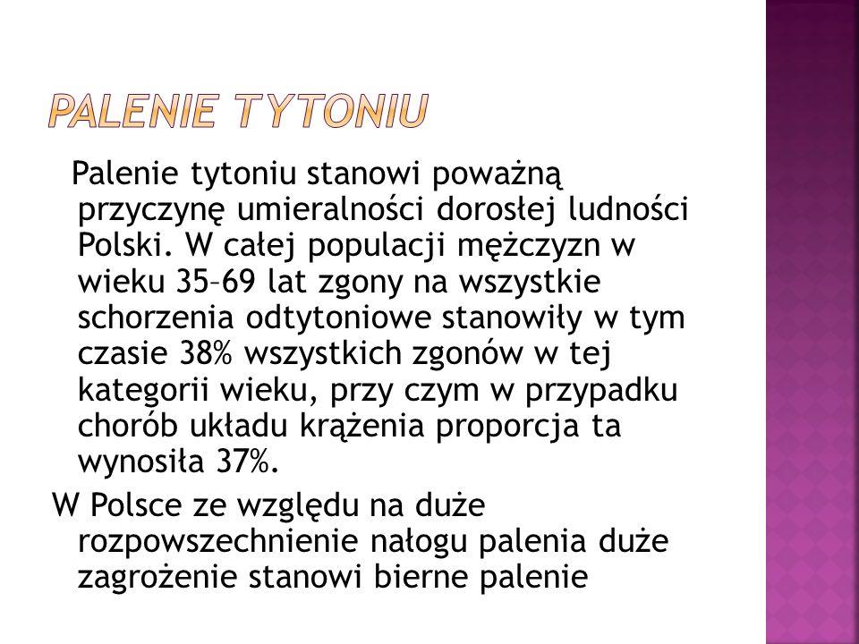 Palenie tytoniu stanowi poważną przyczynę umieralności dorosłej ludności Polski. W całej populacji mężczyzn w wieku 35–69 lat zgony na wszystkie schor