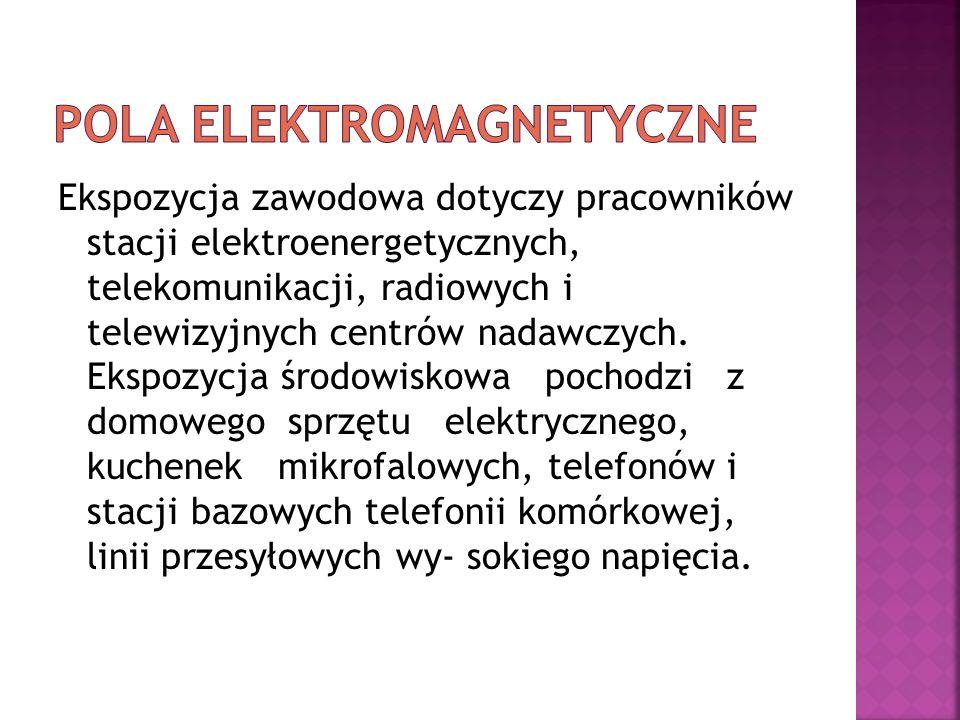 Ekspozycja zawodowa dotyczy pracowników stacji elektroenergetycznych, telekomunikacji, radiowych i telewizyjnych centrów nadawczych. Ekspozycja środow