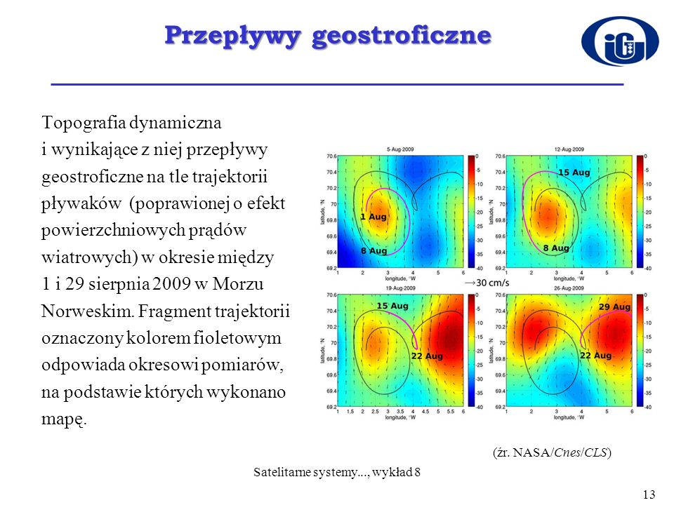 Przepływy geostroficzne Topografia dynamiczna i wynikające z niej przepływy geostroficzne na tle trajektorii pływaków (poprawionej o efekt powierzchni