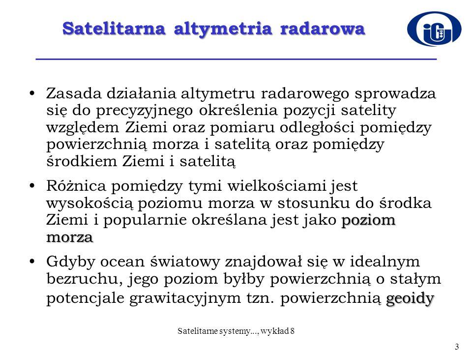 Satelitarna altymetria radarowa Zasada działania altymetru radarowego sprowadza się do precyzyjnego określenia pozycji satelity względem Ziemi oraz po