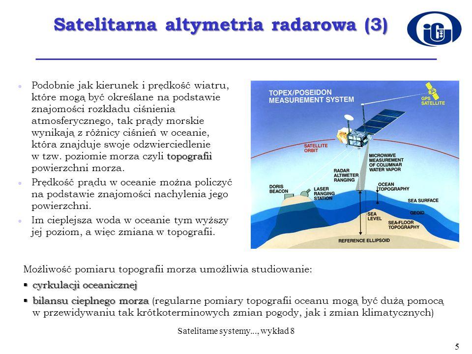Satelitarna altymetria radarowa (4) Altymetr wykonuje swoje zadanie poprzez pomiar czasu jaki upływa od momentu wysłania sygnału przez satelitę w kierunku morza (w nadir) do chwili jego powrotu po odbiciu od powierzchni morza.