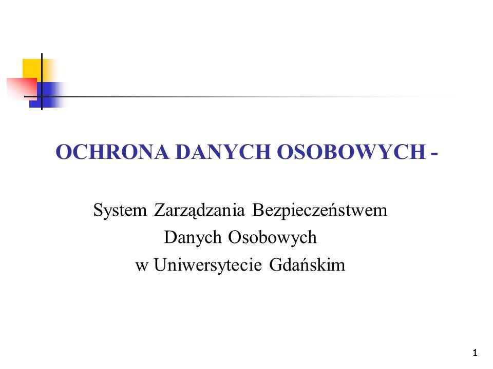 11 OCHRONA DANYCH OSOBOWYCH - System Zarządzania Bezpieczeństwem Danych Osobowych w Uniwersytecie Gdańskim 1