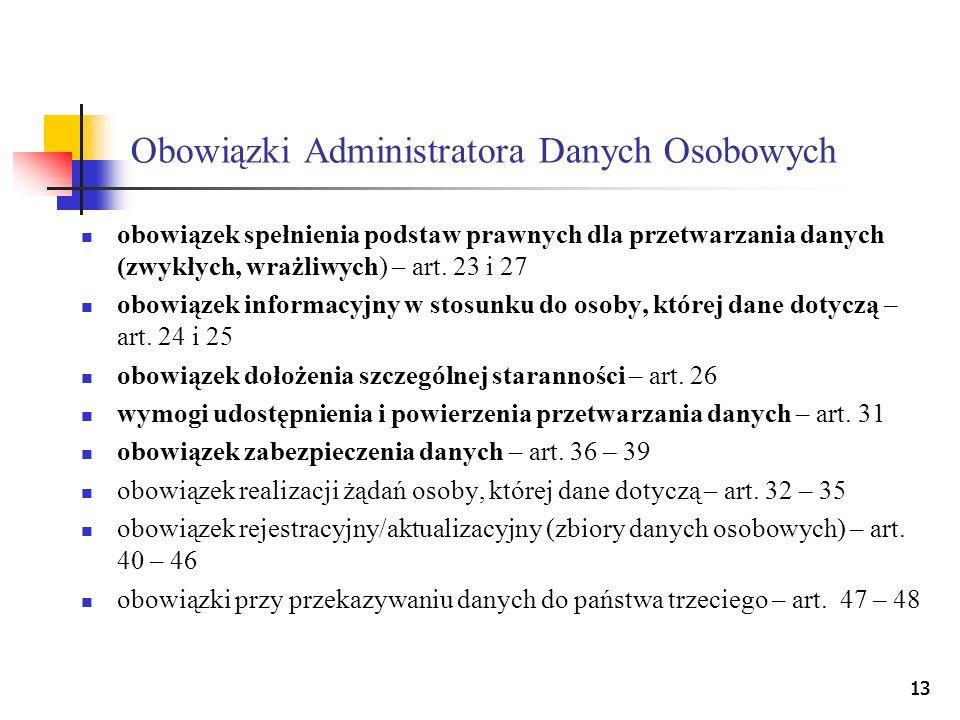 13 Obowiązki Administratora Danych Osobowych obowiązek spełnienia podstaw prawnych dla przetwarzania danych (zwykłych, wrażliwych) – art. 23 i 27 obow
