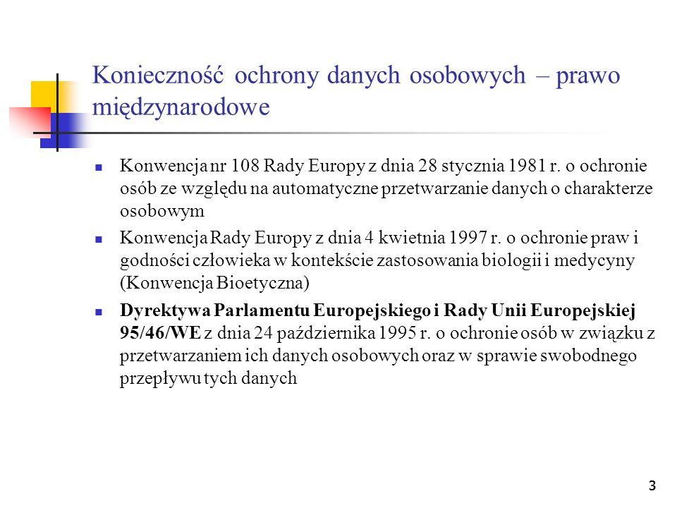 33 Konieczność ochrony danych osobowych – prawo międzynarodowe Konwencja nr 108 Rady Europy z dnia 28 stycznia 1981 r. o ochronie osób ze względu na a