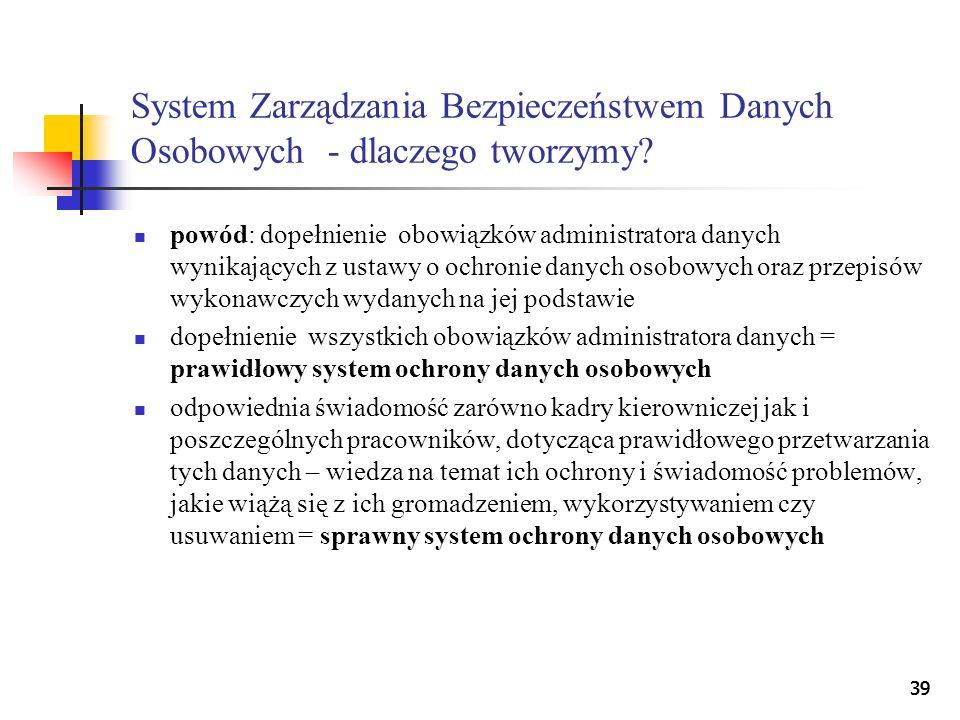 39 System Zarządzania Bezpieczeństwem Danych Osobowych - dlaczego tworzymy? powód: dopełnienie obowiązków administratora danych wynikających z ustawy