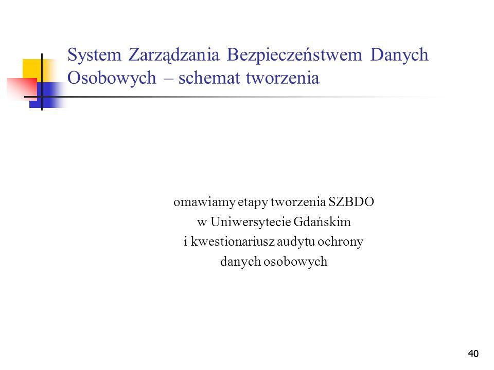 40 System Zarządzania Bezpieczeństwem Danych Osobowych – schemat tworzenia omawiamy etapy tworzenia SZBDO w Uniwersytecie Gdańskim i kwestionariusz au