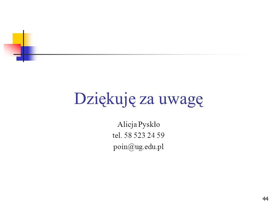 44 Dziękuję za uwagę Alicja Pyskło tel. 58 523 24 59 poin@ug.edu.pl