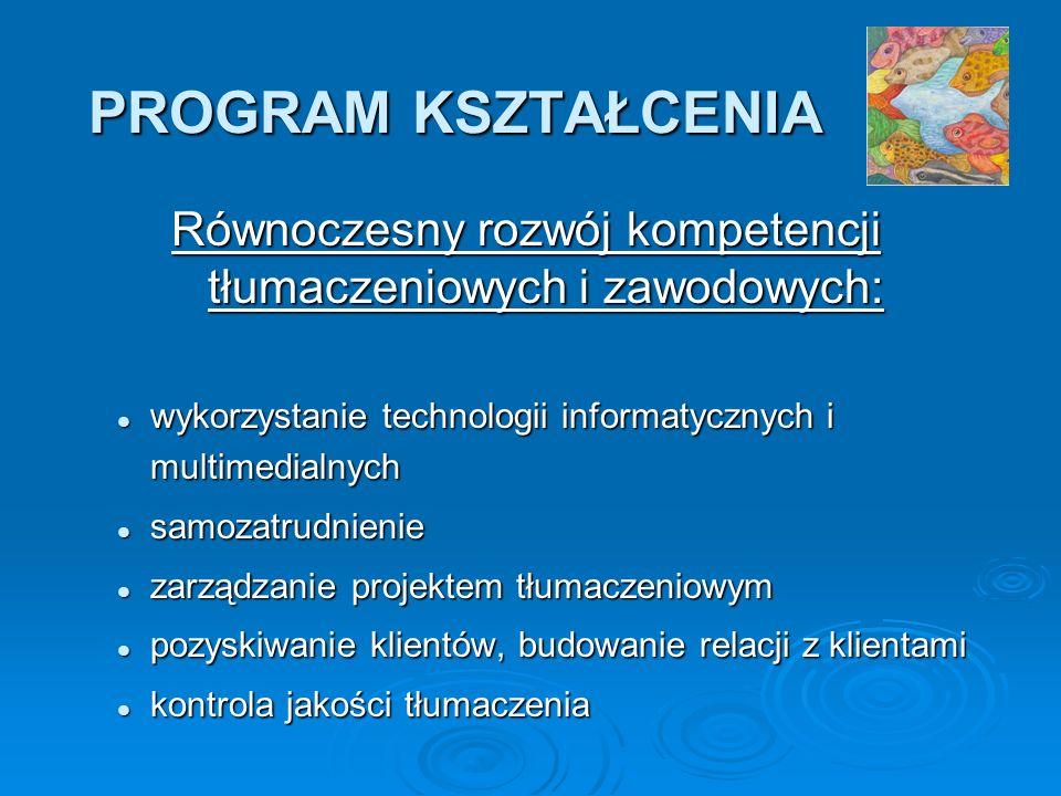 PROGRAM KSZTAŁCENIA Równoczesny rozwój kompetencji tłumaczeniowych i zawodowych: wykorzystanie technologii informatycznych i multimedialnych wykorzystanie technologii informatycznych i multimedialnych samozatrudnienie samozatrudnienie zarządzanie projektem tłumaczeniowym zarządzanie projektem tłumaczeniowym pozyskiwanie klientów, budowanie relacji z klientami pozyskiwanie klientów, budowanie relacji z klientami kontrola jakości tłumaczenia kontrola jakości tłumaczenia