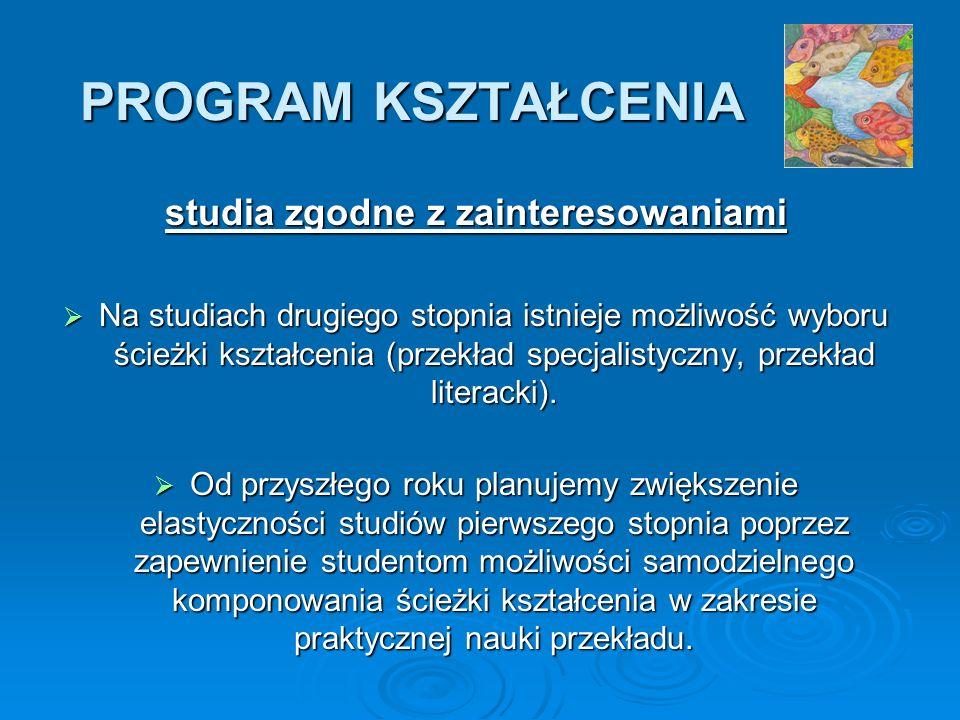 PROGRAM KSZTAŁCENIA studia zgodne z zainteresowaniami Na studiach drugiego stopnia istnieje możliwość wyboru ścieżki kształcenia (przekład specjalistyczny, przekład literacki).