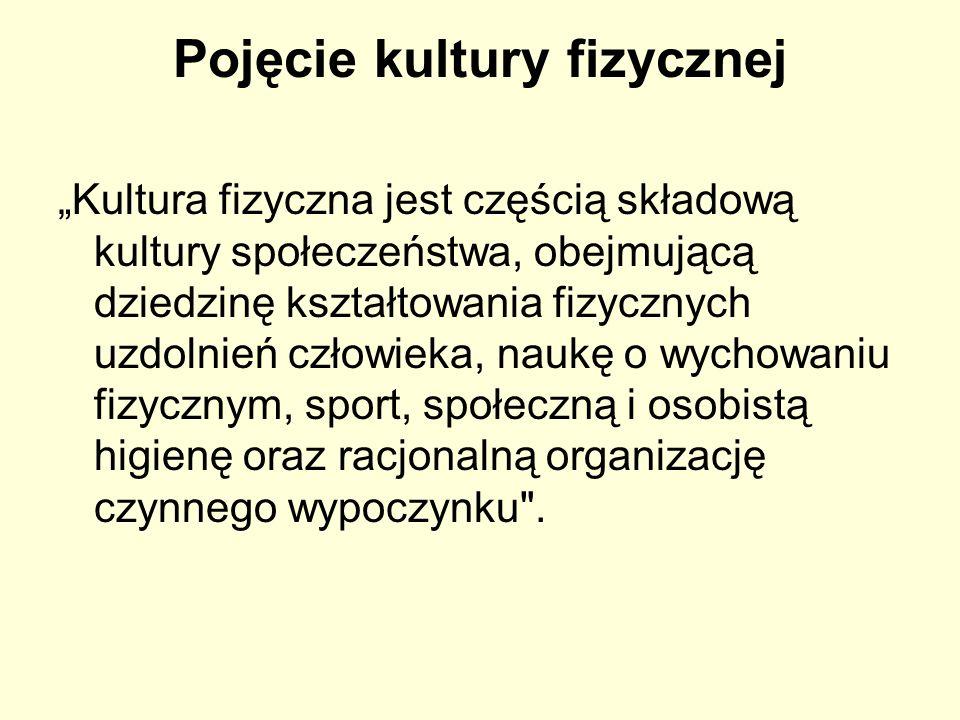 Pojęcie kultury fizycznej Kultura fizyczna jest częścią składową kultury społeczeństwa, obejmującą dziedzinę kształtowania fizycznych uzdolnień człowi