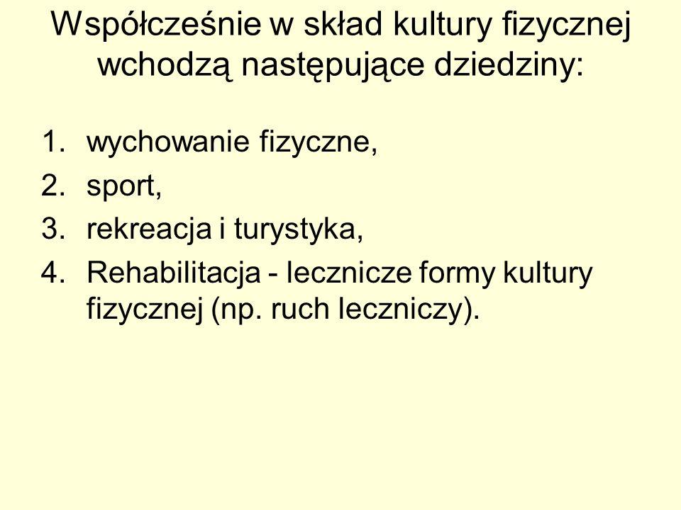 Współcześnie w skład kultury fizycznej wchodzą następujące dziedziny: 1.wychowanie fizyczne, 2.sport, 3.rekreacja i turystyka, 4.Rehabilitacja - leczn