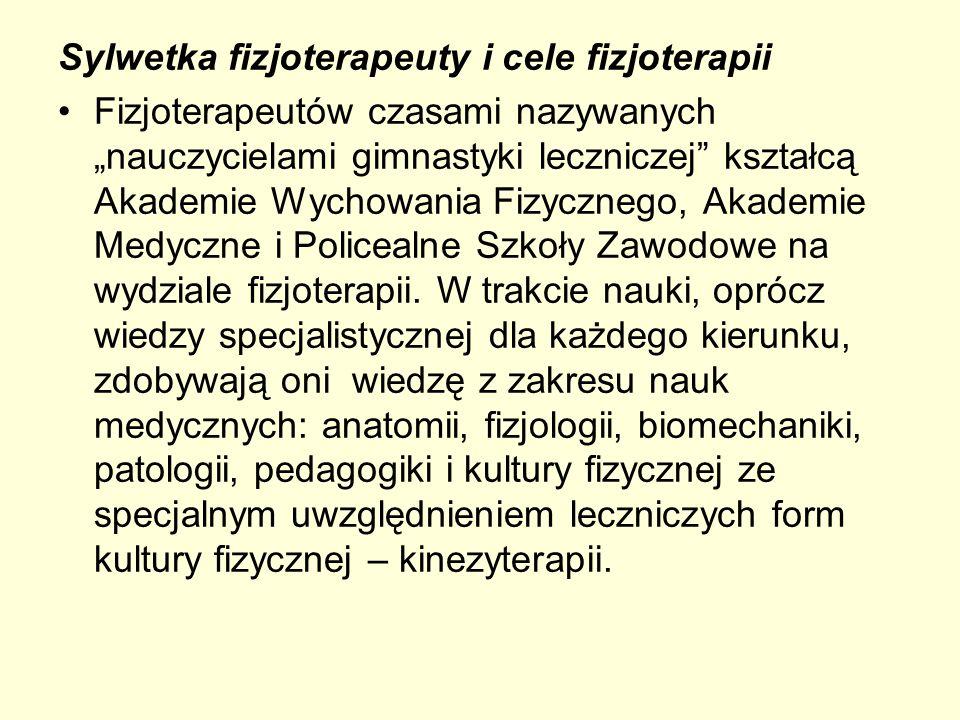 Sylwetka fizjoterapeuty i cele fizjoterapii Fizjoterapeutów czasami nazywanych nauczycielami gimnastyki leczniczej kształcą Akademie Wychowania Fizycz