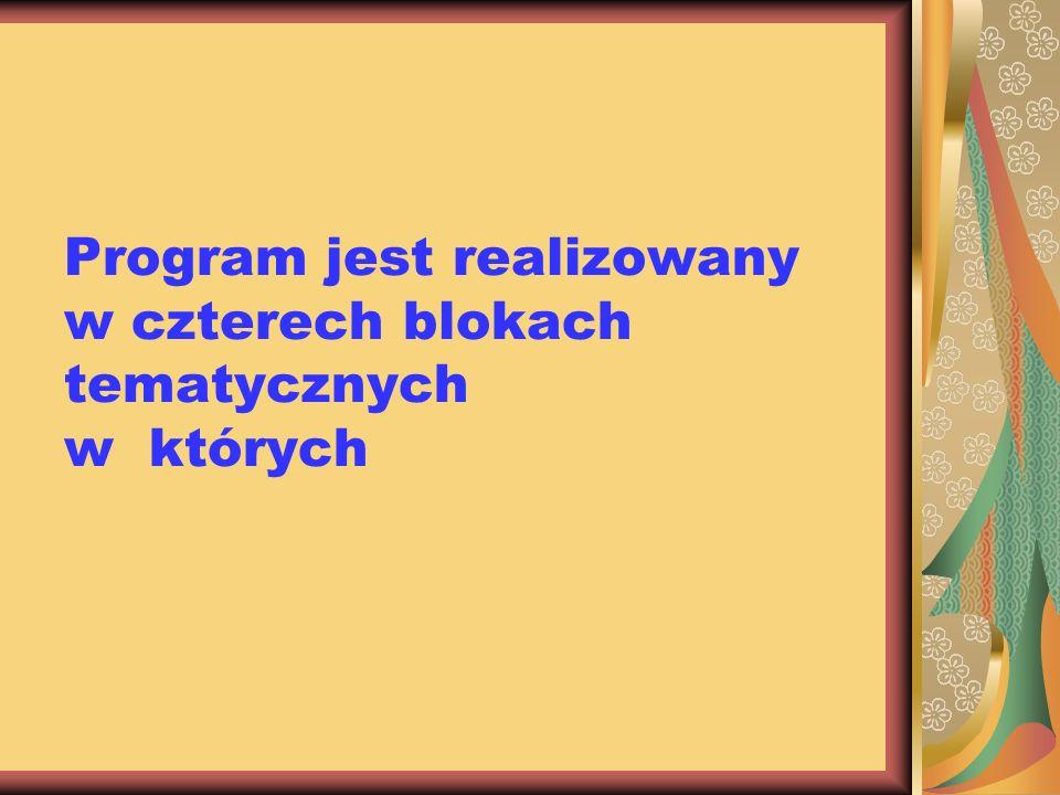 Program jest realizowany w czterech blokach tematycznych w których