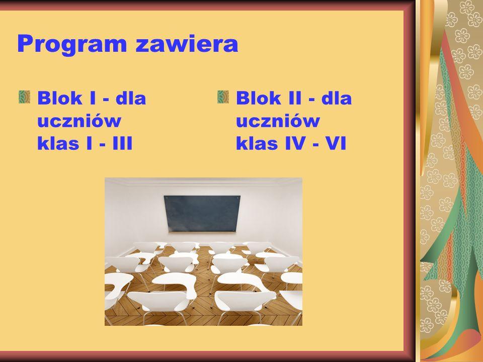 Program zawiera Blok I - dla uczniów klas I - III Blok II - dla uczniów klas IV - VI