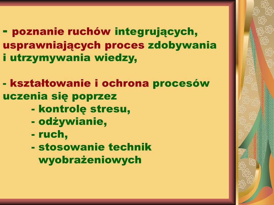 - poznanie ruchów integrujących, usprawniających proces zdobywania i utrzymywania wiedzy, - kształtowanie i ochrona procesów uczenia się poprzez - kon