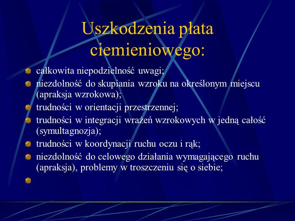 Uszkodzenia płata ciemieniowego: całkowita niepodzielność uwagi; niezdolność do skupiania wzroku na określonym miejscu (apraksja wzrokowa); trudności