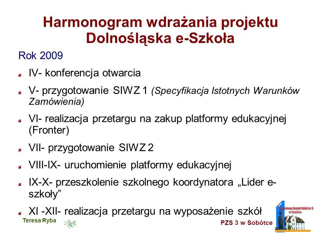 PZS 3 w Sobótce Teresa Ryba Harmonogram wdrażania projektu Dolnośląska e-Szkoła Rok 2009 IV- konferencja otwarcia V- przygotowanie SIWZ 1 (Specyfikacj
