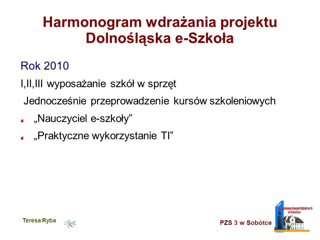 PZS 3 w Sobótce Teresa Ryba Harmonogram wdrażania projektu Dolnośląska e-Szkoła Rok 2010 I,II,III wyposażanie szkół w sprzęt Jednocześnie przeprowadze