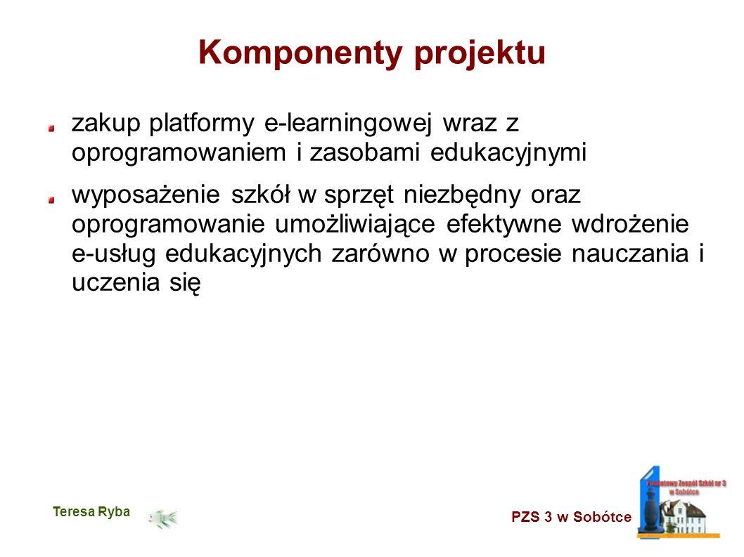 PZS 3 w Sobótce Teresa Ryba Komponenty projektu zakup platformy e-learningowej wraz z oprogramowaniem i zasobami edukacyjnymi wyposażenie szkół w sprz