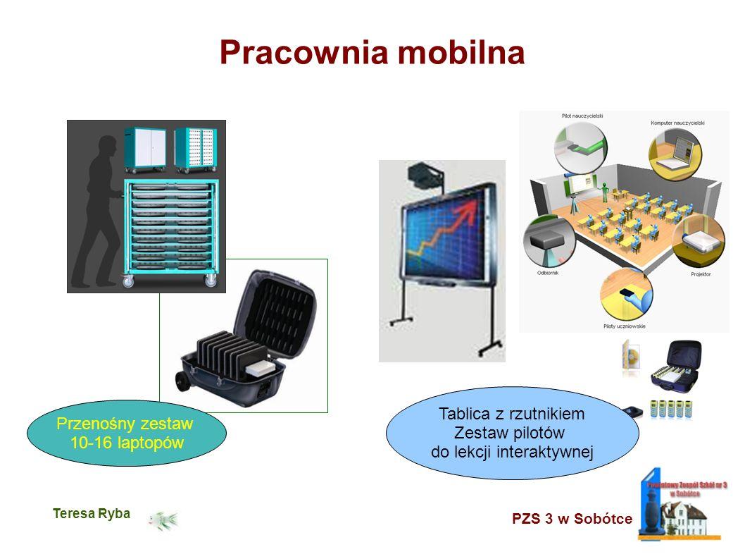 PZS 3 w Sobótce Teresa Ryba Pracownia mobilna Przenośny zestaw 10-16 laptopów Tablica z rzutnikiem Zestaw pilotów do lekcji interaktywnej