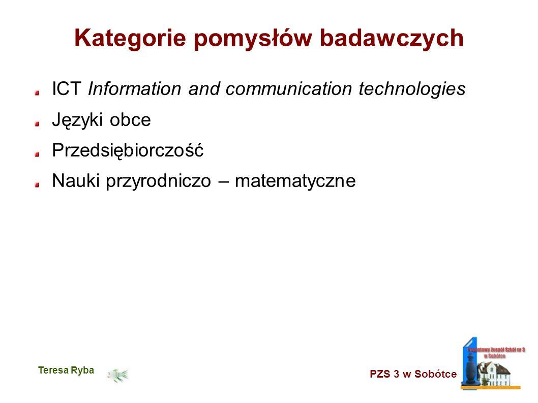 PZS 3 w Sobótce Teresa Ryba Kategorie pomysłów badawczych ICT Information and communication technologies Języki obce Przedsiębiorczość Nauki przyrodni
