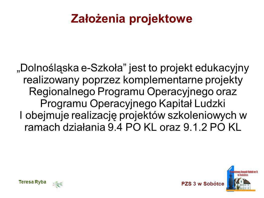 PZS 3 w Sobótce Teresa Ryba Założenia projektowe Dolnośląska e-Szkoła jest to projekt edukacyjny realizowany poprzez komplementarne projekty Regionalnego Programu Operacyjnego oraz Programu Operacyjnego Kapitał Ludzki I obejmuje realizację projektów szkoleniowych w ramach działania 9.4 PO KL oraz 9.1.2 PO KL