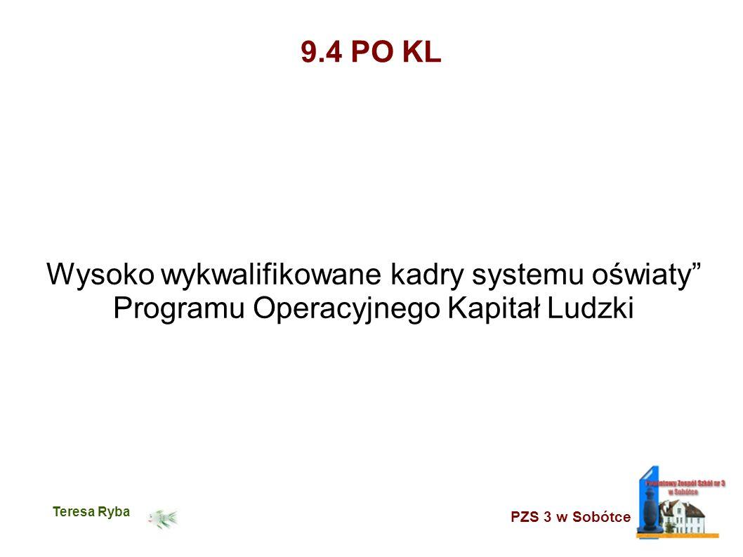 PZS 3 w Sobótce Teresa Ryba 9.4 PO KL Wysoko wykwalifikowane kadry systemu oświaty Programu Operacyjnego Kapitał Ludzki