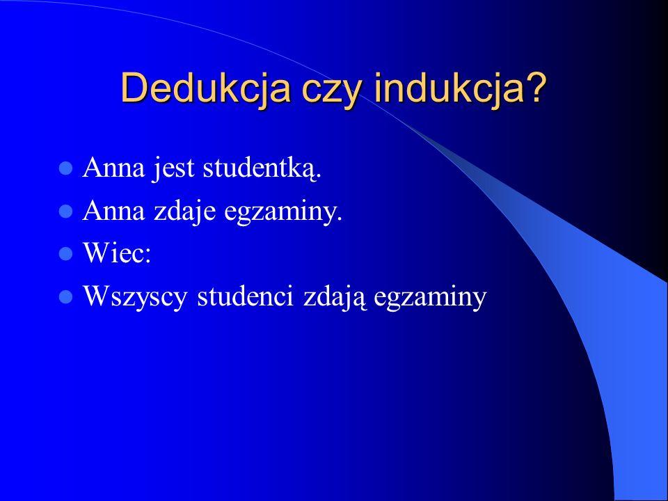 Dedukcja czy indukcja? Anna jest studentką. Anna zdaje egzaminy. Wiec: Wszyscy studenci zdają egzaminy