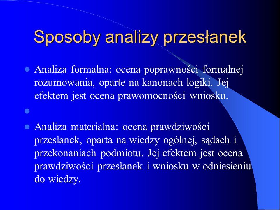 Sposoby analizy przesłanek Analiza formalna: ocena poprawności formalnej rozumowania, oparte na kanonach logiki. Jej efektem jest ocena prawomocności