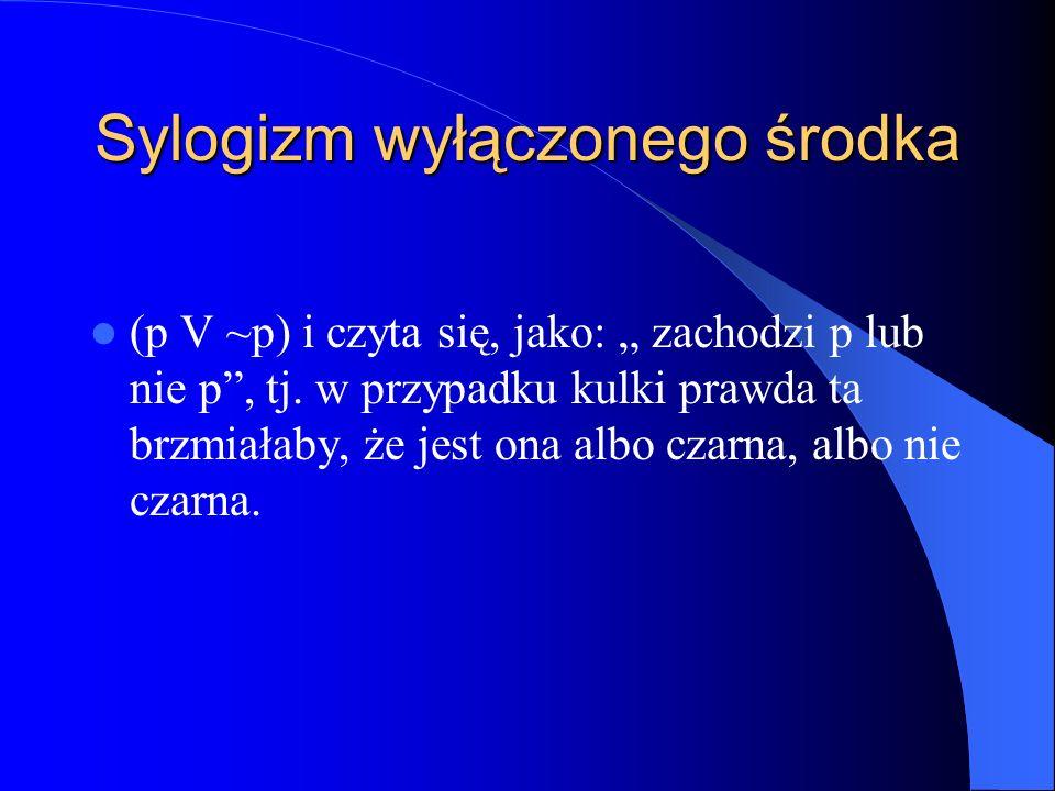 Sylogizm wyłączonego środka (p V ~p) i czyta się, jako: zachodzi p lub nie p, tj. w przypadku kulki prawda ta brzmiałaby, że jest ona albo czarna, alb
