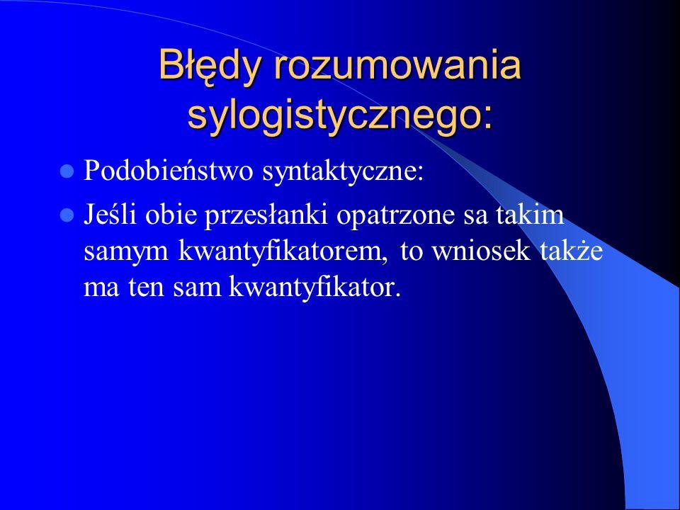 Błędy rozumowania sylogistycznego: Podobieństwo syntaktyczne: Jeśli obie przesłanki opatrzone sa takim samym kwantyfikatorem, to wniosek także ma ten