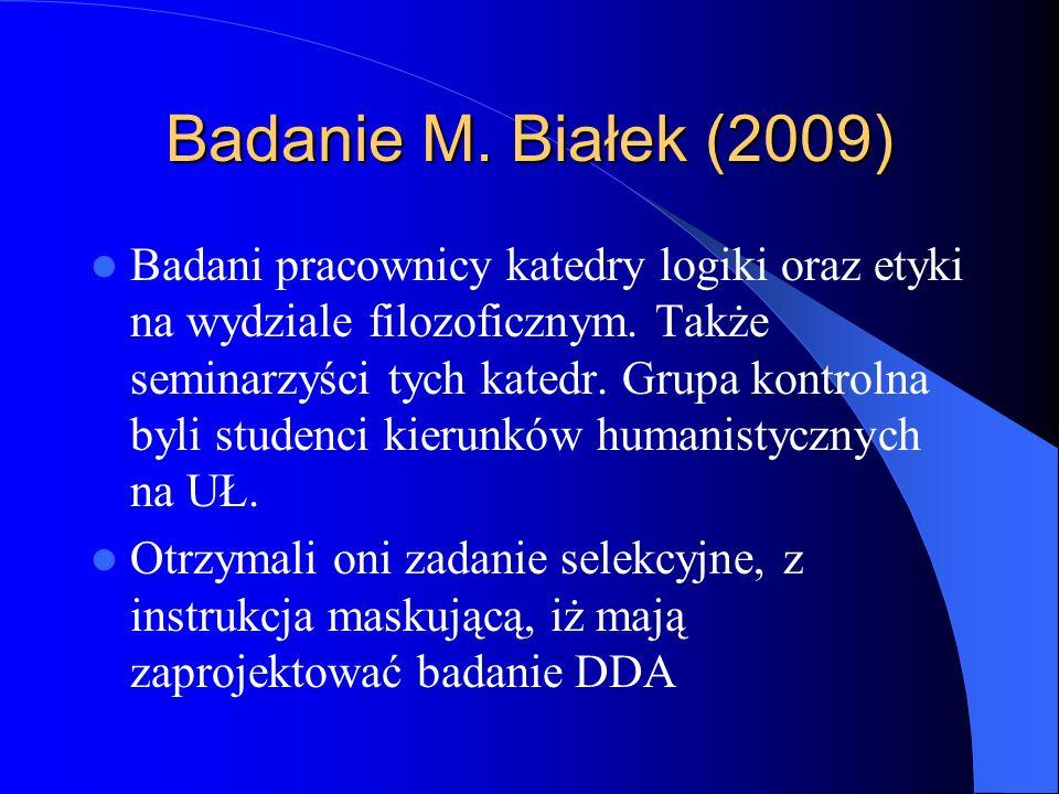 Badanie M. Białek (2009) Badani pracownicy katedry logiki oraz etyki na wydziale filozoficznym. Także seminarzyści tych katedr. Grupa kontrolna byli s