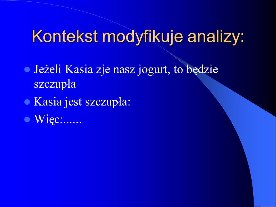 Kontekst modyfikuje analizy: Jeżeli Kasia zje nasz jogurt, to będzie szczupła Kasia jest szczupła: Więc:......