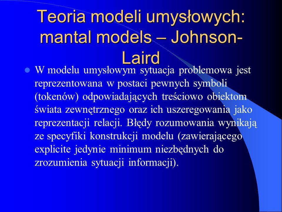 Teoria modeli umysłowych: mantal models – Johnson- Laird W modelu umysłowym sytuacja problemowa jest reprezentowana w postaci pewnych symboli (tokenów