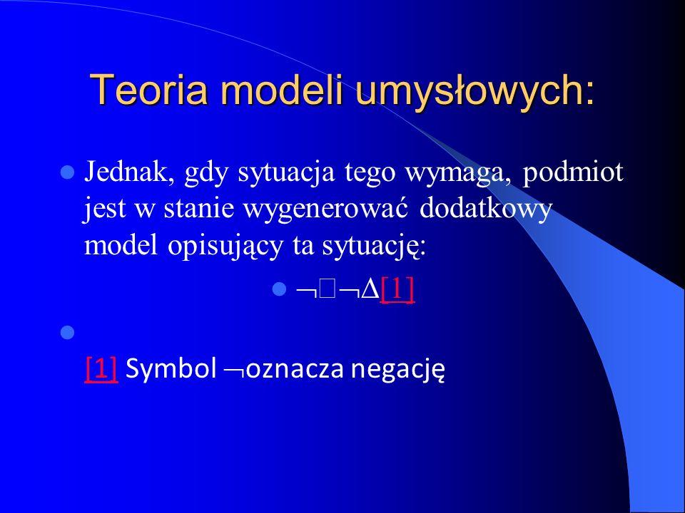 Teoria modeli umysłowych: Jednak, gdy sytuacja tego wymaga, podmiot jest w stanie wygenerować dodatkowy model opisujący ta sytuację: [1] [1] Symbol oz