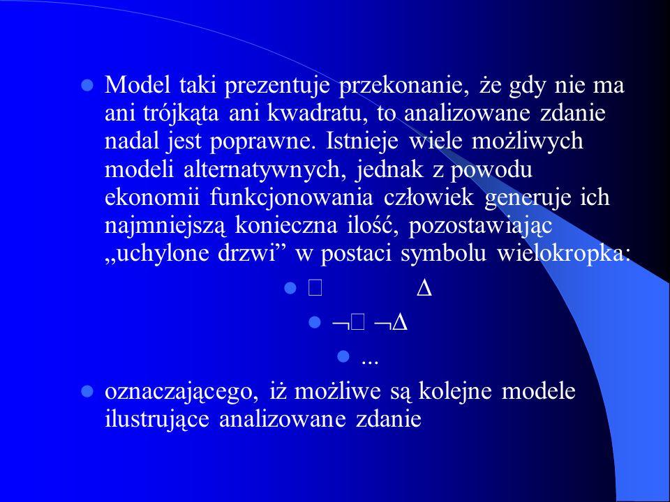 Model taki prezentuje przekonanie, że gdy nie ma ani trójkąta ani kwadratu, to analizowane zdanie nadal jest poprawne. Istnieje wiele możliwych modeli